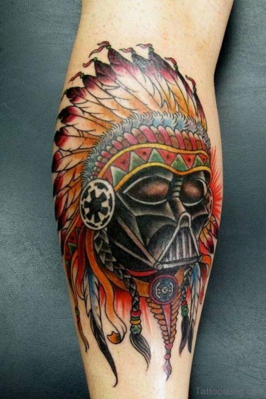 Darth Vader Native Sugar Skull Tattoo On Leg