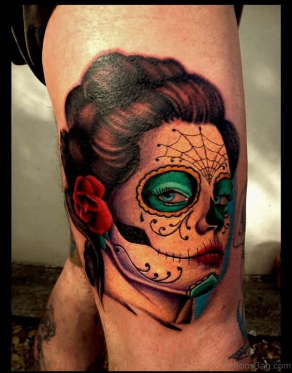 Day Of The Dead Girl Head Tattoo On Thigh