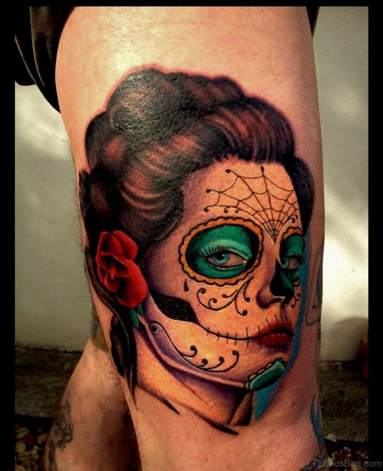 50 very best portrait tattoos on leg for Girl head tattoo