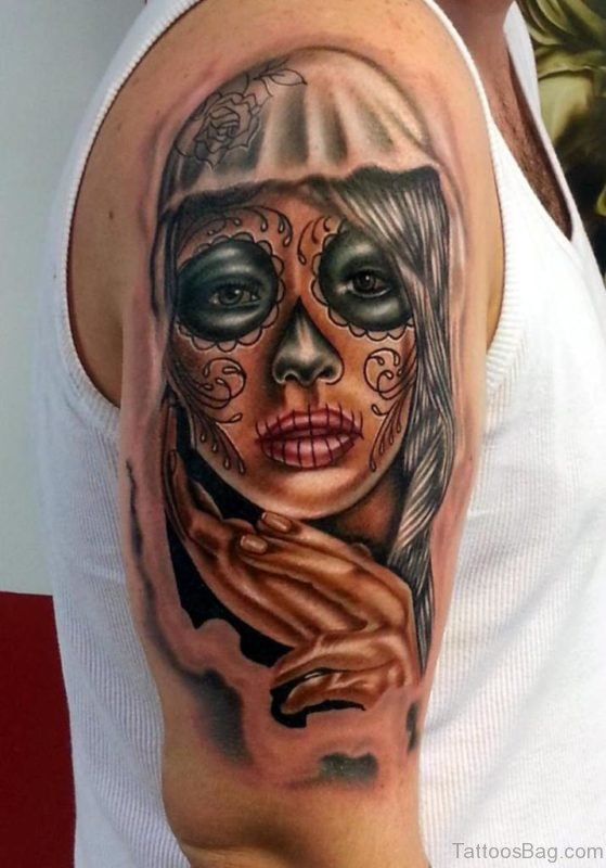 Day Of The Dead Girl Tattoo On Bicep