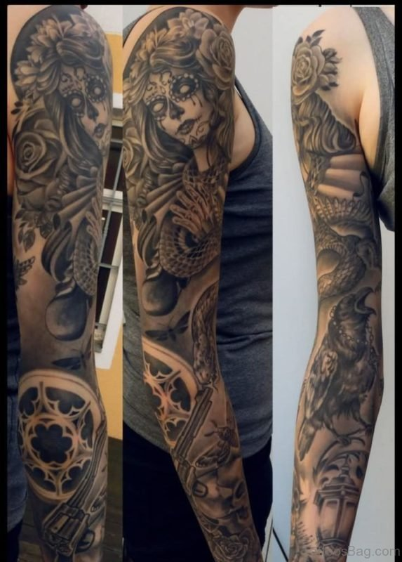 Day Of The Dead Tattoo On Man Full Sleeve