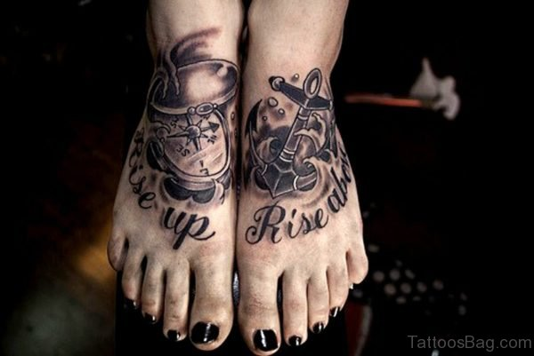 Dazzling Anchor Tattoo On Feet