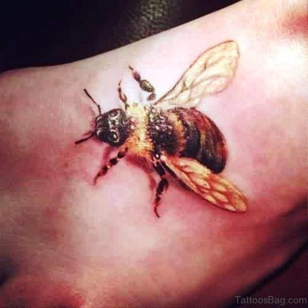 Dazzling Bee Tattoo On Foot