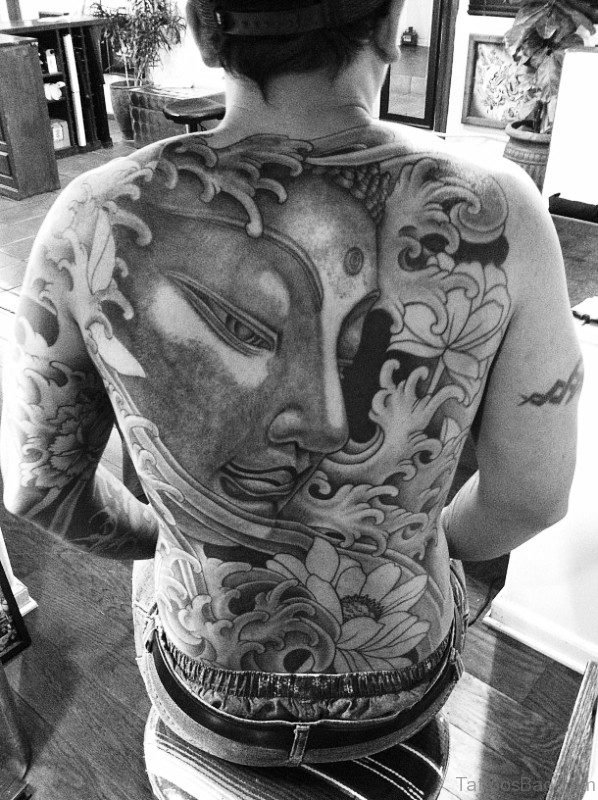 Dazzling Buddha Tattoo On Back