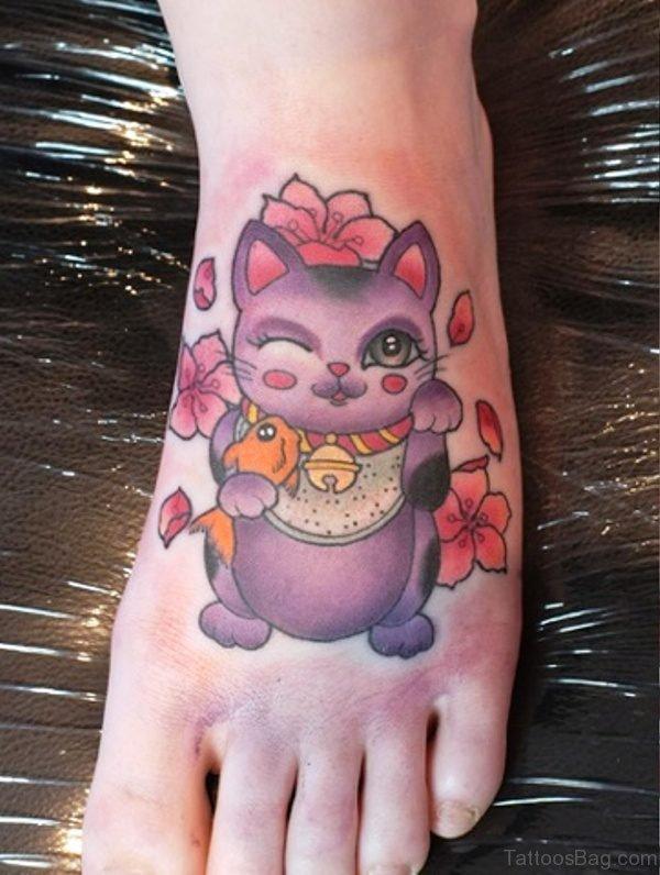 Dazzling Cat Tattoo On Foot