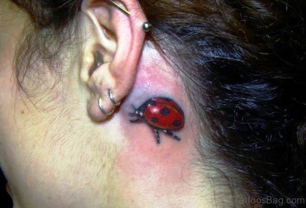 Dazzling Ladybug Tattoo Behind Ear