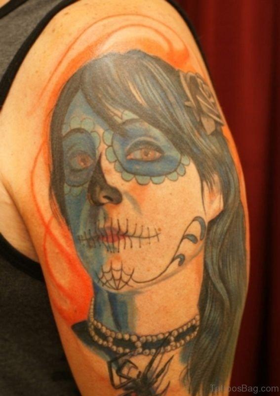 Dead Girl Portrait Tattoo On Half Sleeve