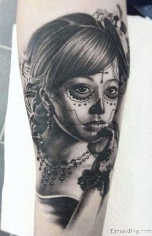 Dead Girl Portrait Tattoo