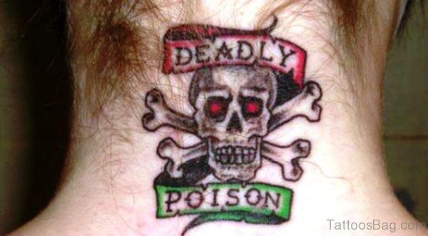 Deadly Skull Tattoo On Neck