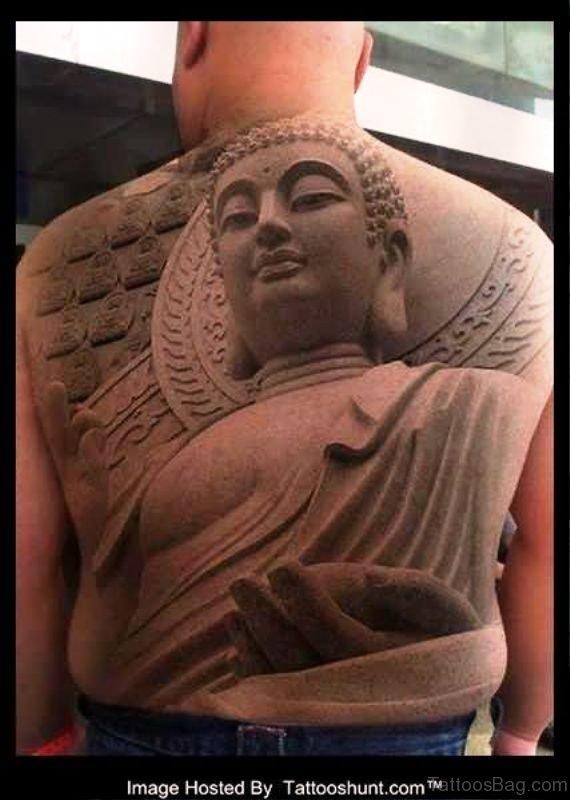 Decent Buddha Tattoo On Back