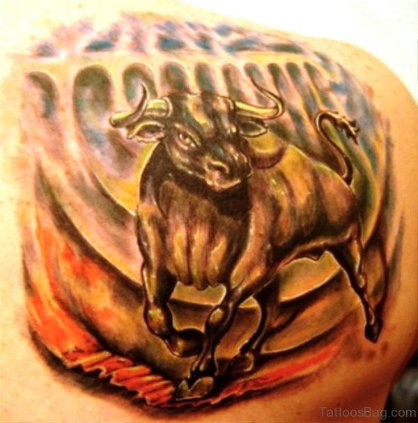 Decent Bull Tattoo On Back