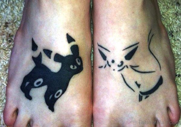 Decent Cat Tattoo On Feet