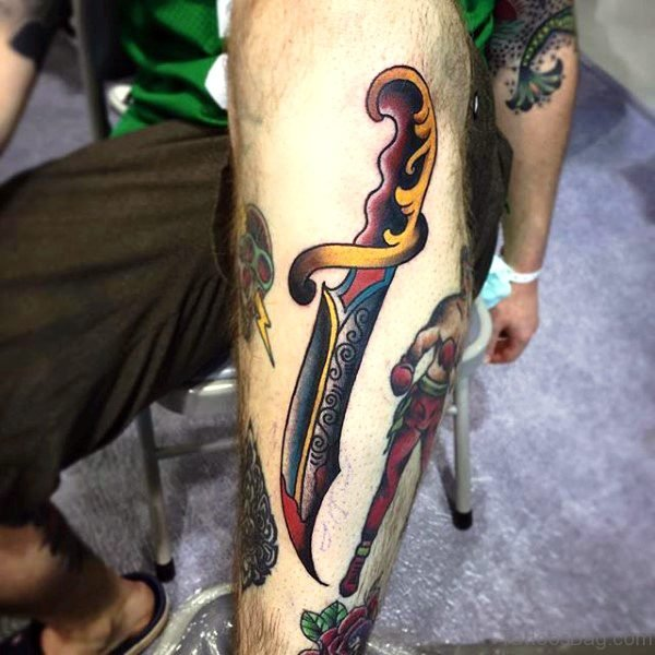 Decorated Dagger Tattoo On Arm