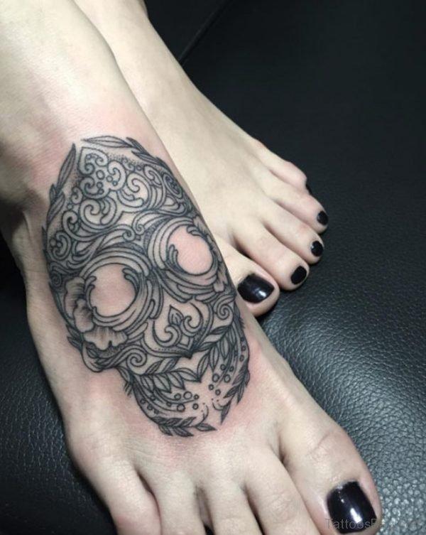 Decorative Skull Tattoo on Foot