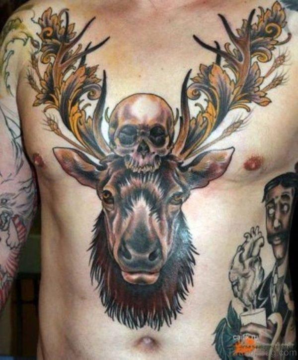 Deer And Skull Tattoo