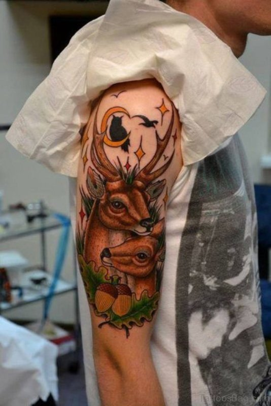 Deer Tattoo On Shoulder