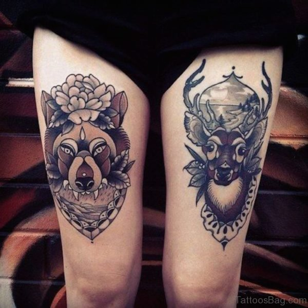 Deer and Wolf Tattoo