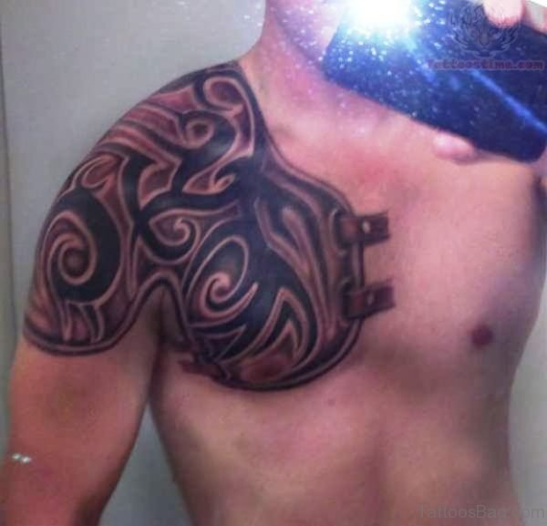 Delightful Armour Tattoo On Chest