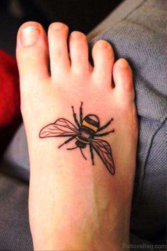 Delightful Bee Tattoo On Foot