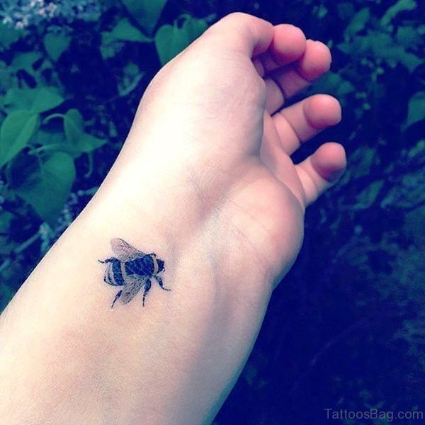 Delightful Bee Tattoo On Wrist