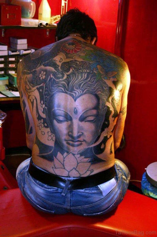 Delightful Buddha Tattoo On Back