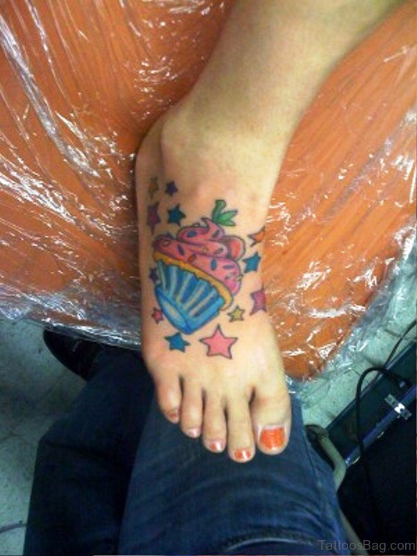 Delightful Cupcake Tattoo On Foot