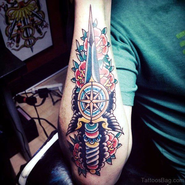Delightful Dagger Tattoo On Arm