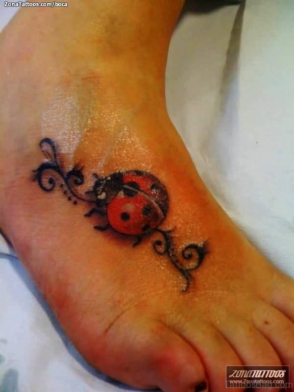 Delightful Ladybug Tattoo On Foot