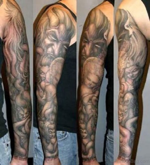 Demon Sleeve Tattoo Designs For Men