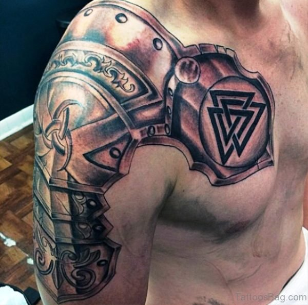 Designer Armour Shoulder Tattoo