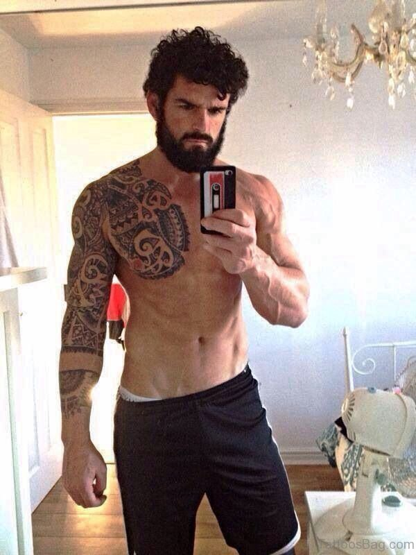 Designer Aztec Shoulder Tattoo