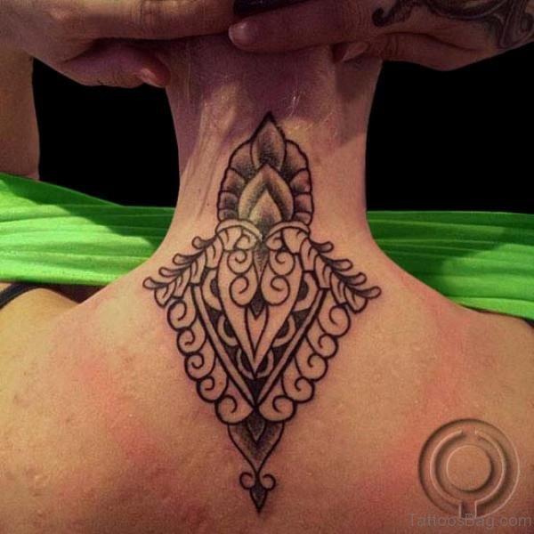 Designer Black Tribal Neck Tattoo