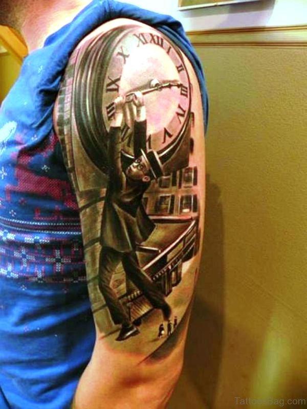 Designer Clock Shoulder Tattoo