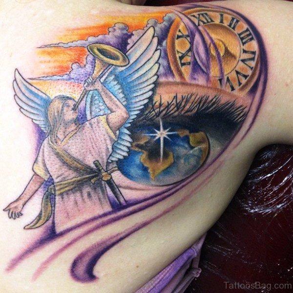 Designer Eye And Clock Tattoo