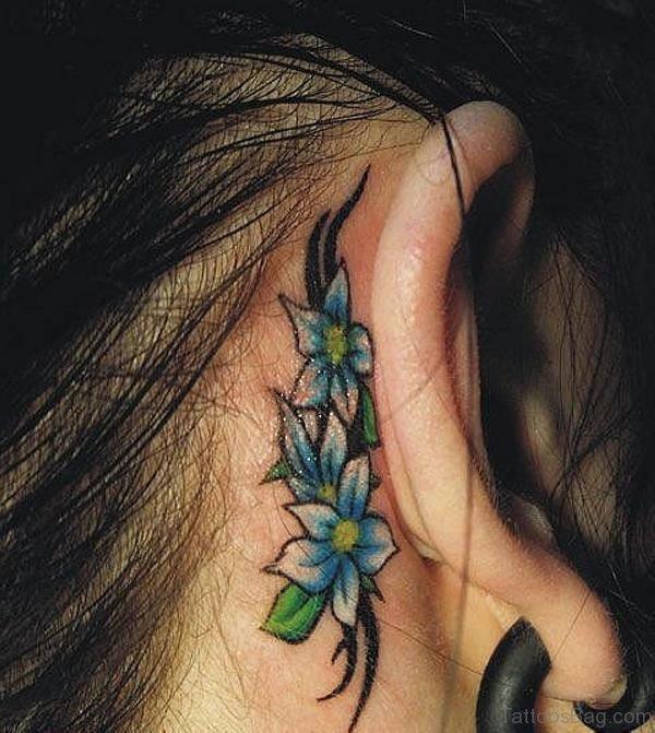 Designer Flower Tattoo On Ear Back