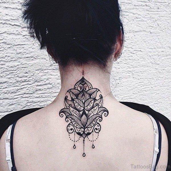 Designer Lotus Neck Tattoo