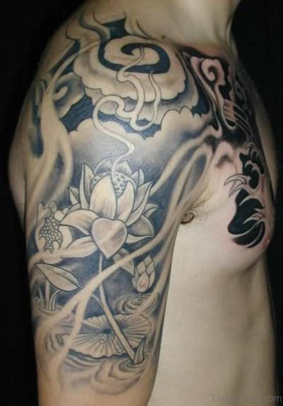 Designer Lotus Shoulder Half Sleeves Tattoo