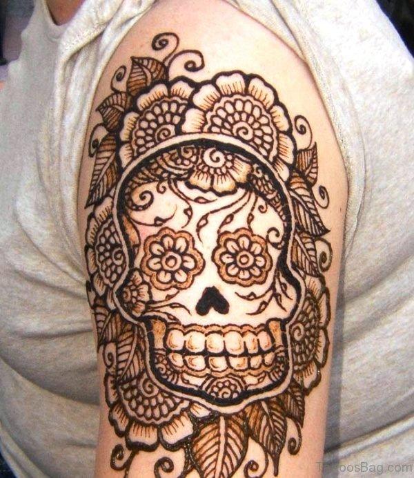 Designer Skull Shoulder Tattoo