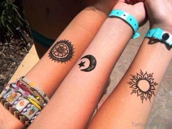 Designer Sun And Moon Tattoo