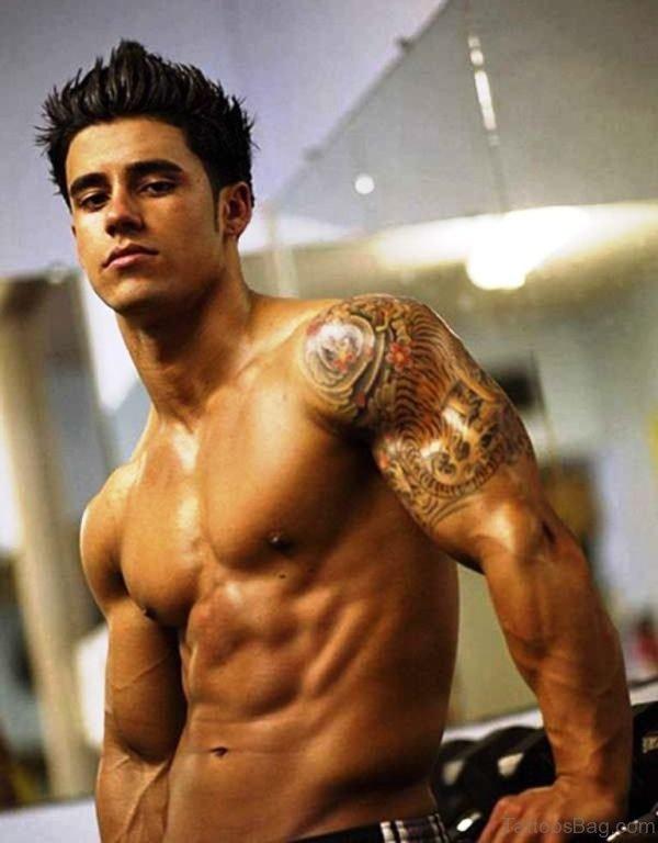 Designer Tiger Shoulder Tattoo
