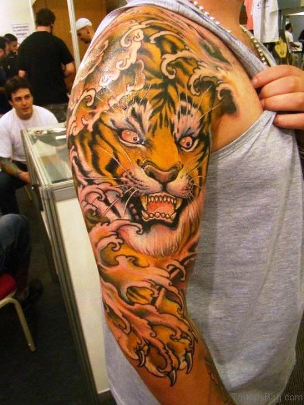 Designer Tiger Tattoo On Right Shoulder