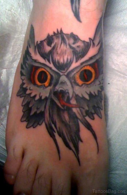Devil Owl Tattoo On Foot