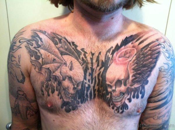 Devil Skull Tattoo Design On Chest