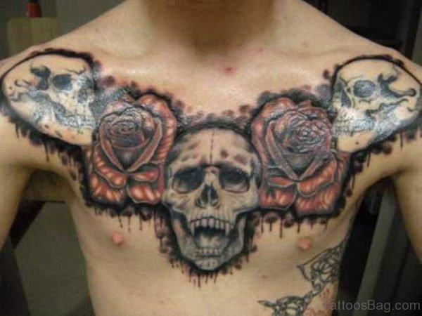 Devil Skull Tattoo On Chest
