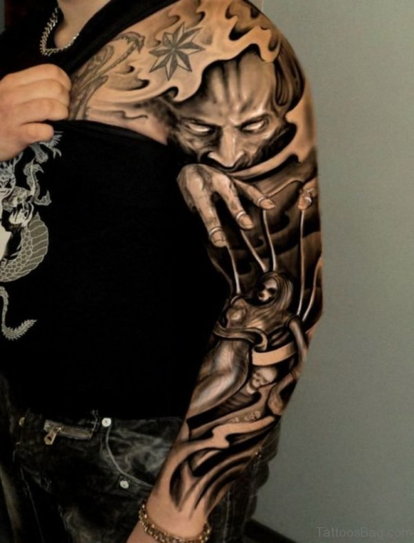 Devil Tattoo On Full Sleeve