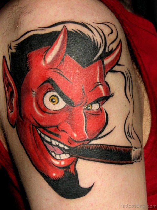 Devil Tattoo On Shoulder