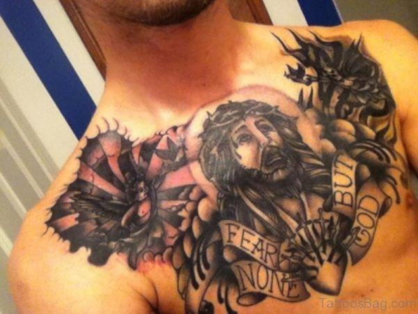 Devil Vs Jesus Tattoo On Chest