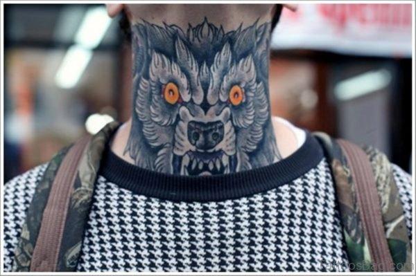 Devil Wolf Tattoo Design On Neck