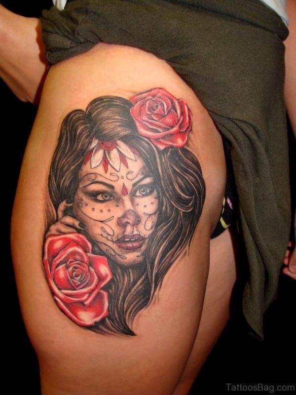 Dia De Los Muertos Tattoos On Thigh
