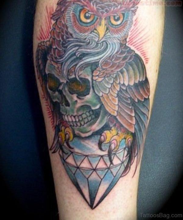 Diamond And Owl Tattoo On leg
